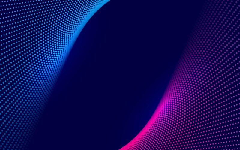 Abstract colorful technology dotted wave background