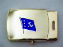Past Commodore Flag Brass Buckle