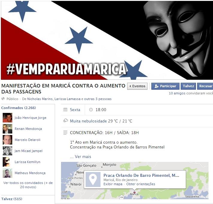 #VEMPRARUAMARICÁ ganha força e já conta com 2 mil confirmados no Facebook. (Imagem: Reprodução | Facebook)