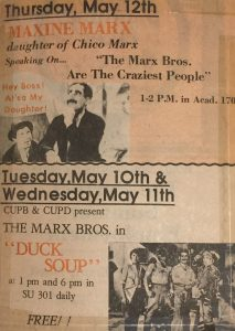 [Advertisement for Maxine's 1977 lecture from the Queens College student newspaper.]