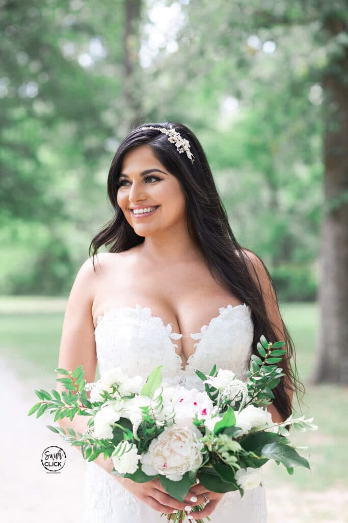 bridal portrait at a micro and intimate wedding at Balmorhea Event Venue in Houston Texas by Swish and Click Photography