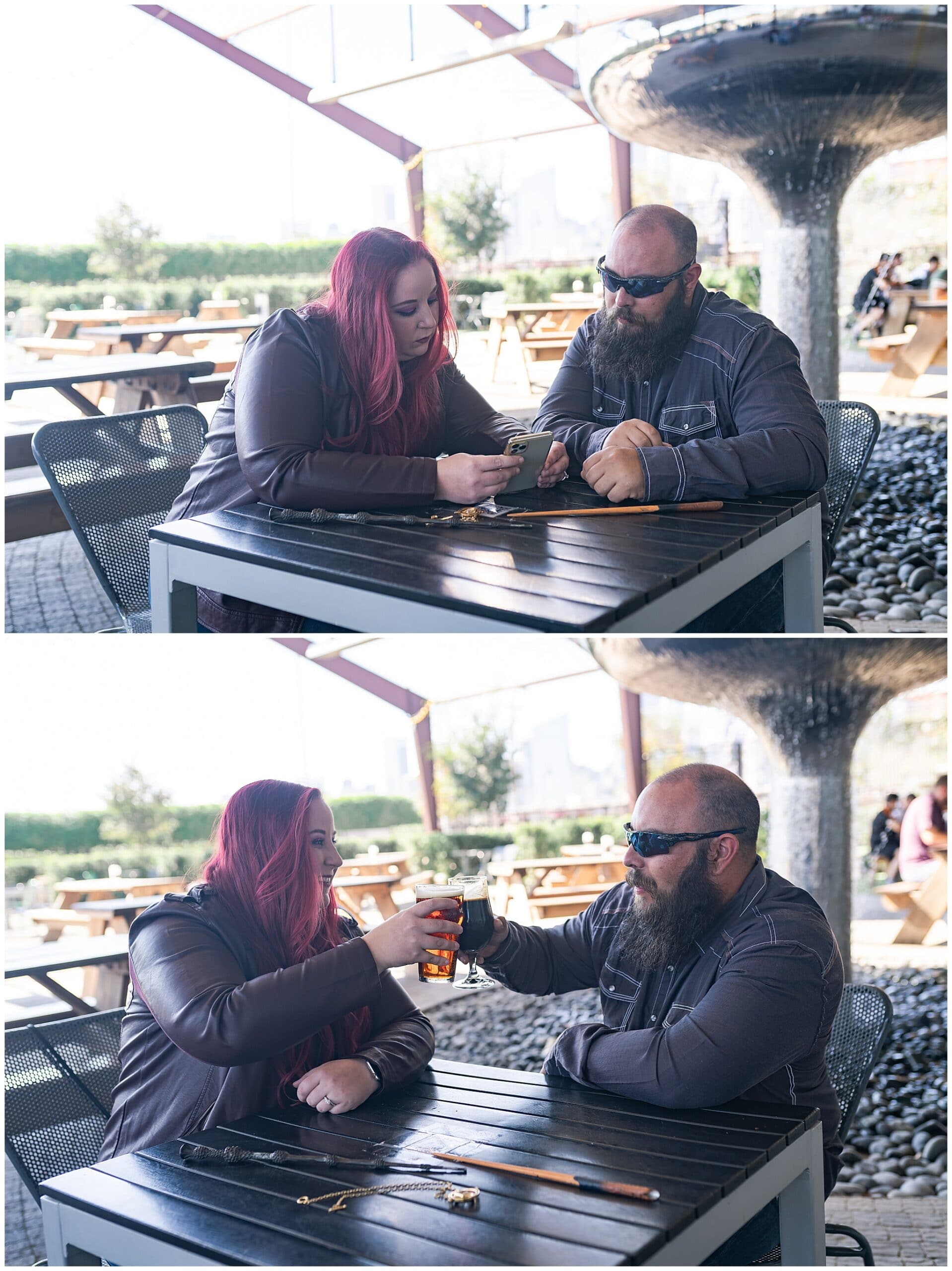 engaged Houston couple orders beer at St Arnold's brewery by Swish and Click Photography