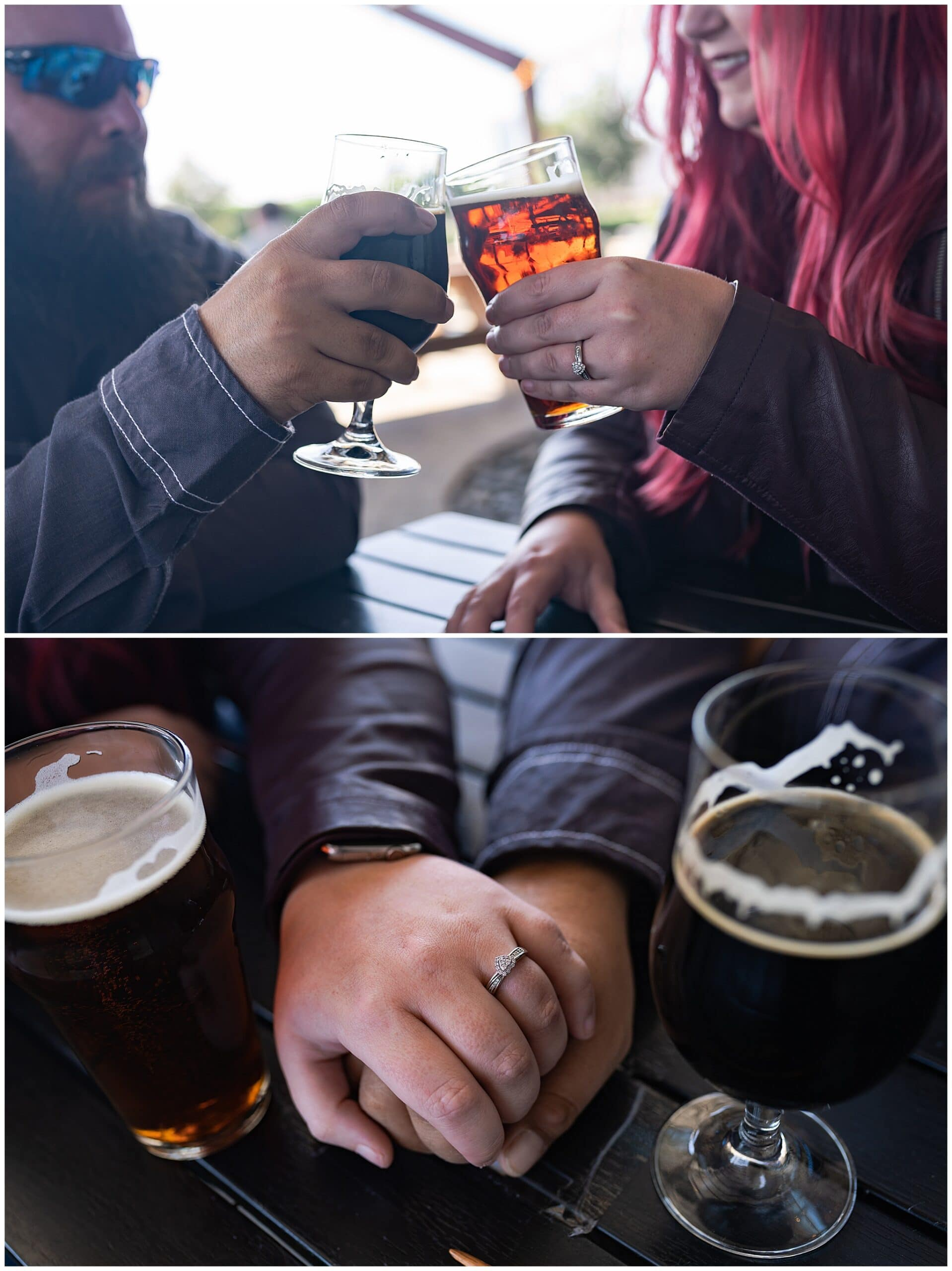 engaged Houston couple enjoy a beer at St Arnold's brewery by Swish and Click Photography