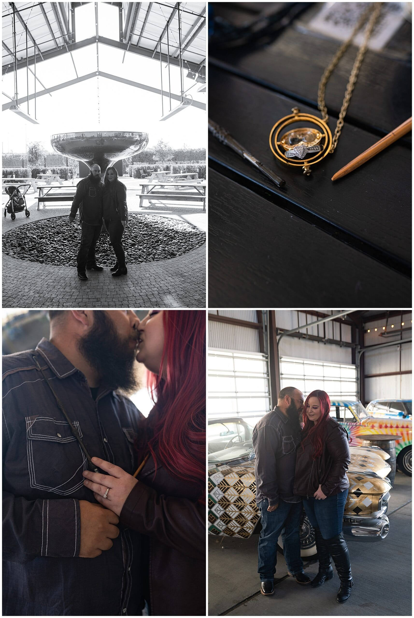 engaged Houston couple kiss at St Arnold's brewery by Swish and Click Photography