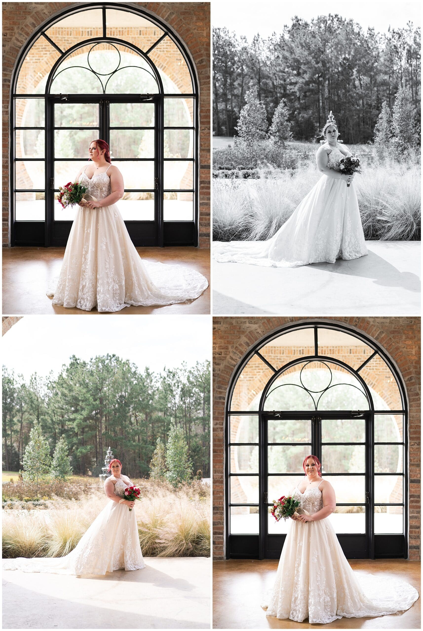 Iron Manor bridal session where the bride poses in the foyer captured by Swish and Click Photography in Houston Texas