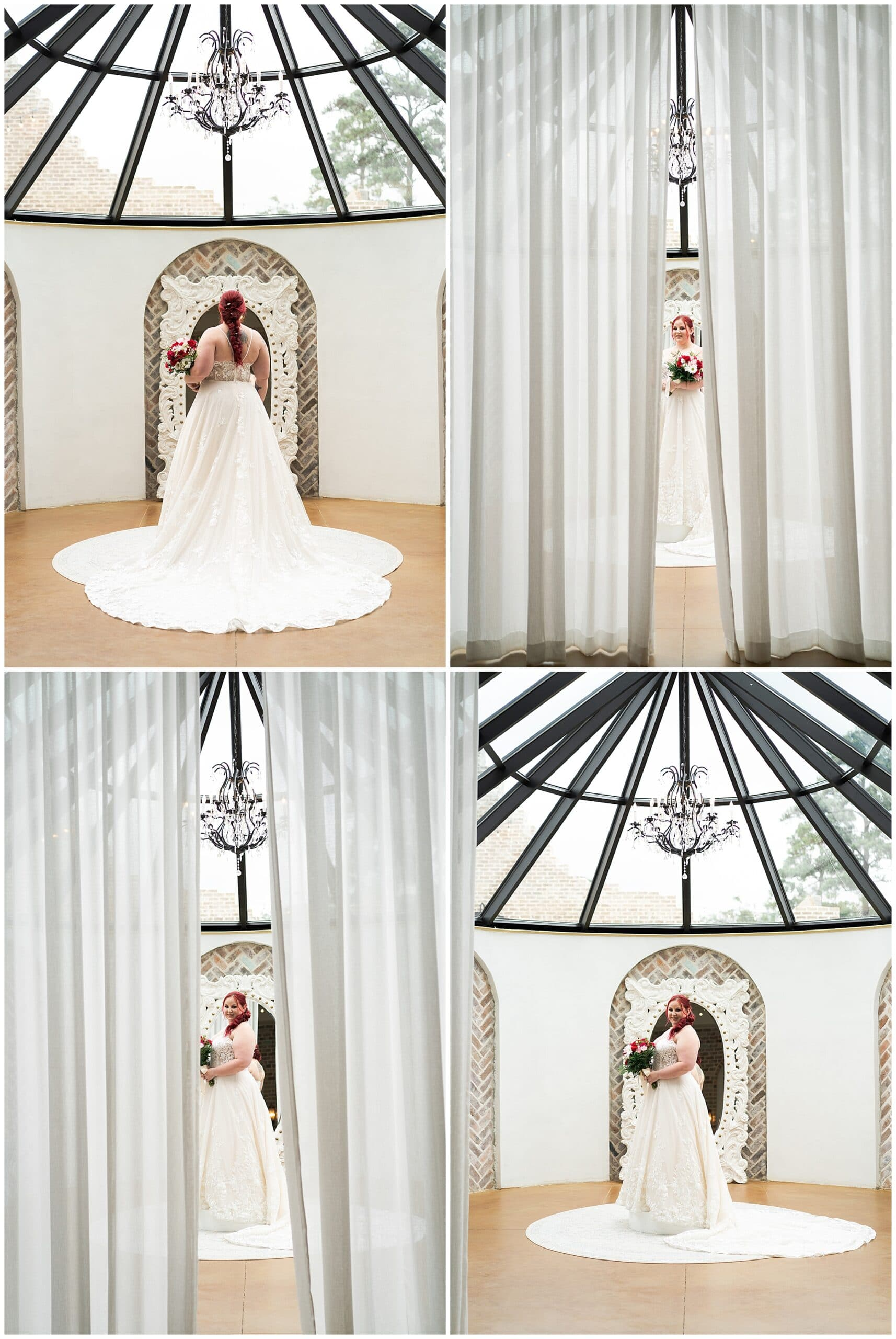 bride laughs during her Houston bridal session at Iron Manor captured by Swish and Click Photography