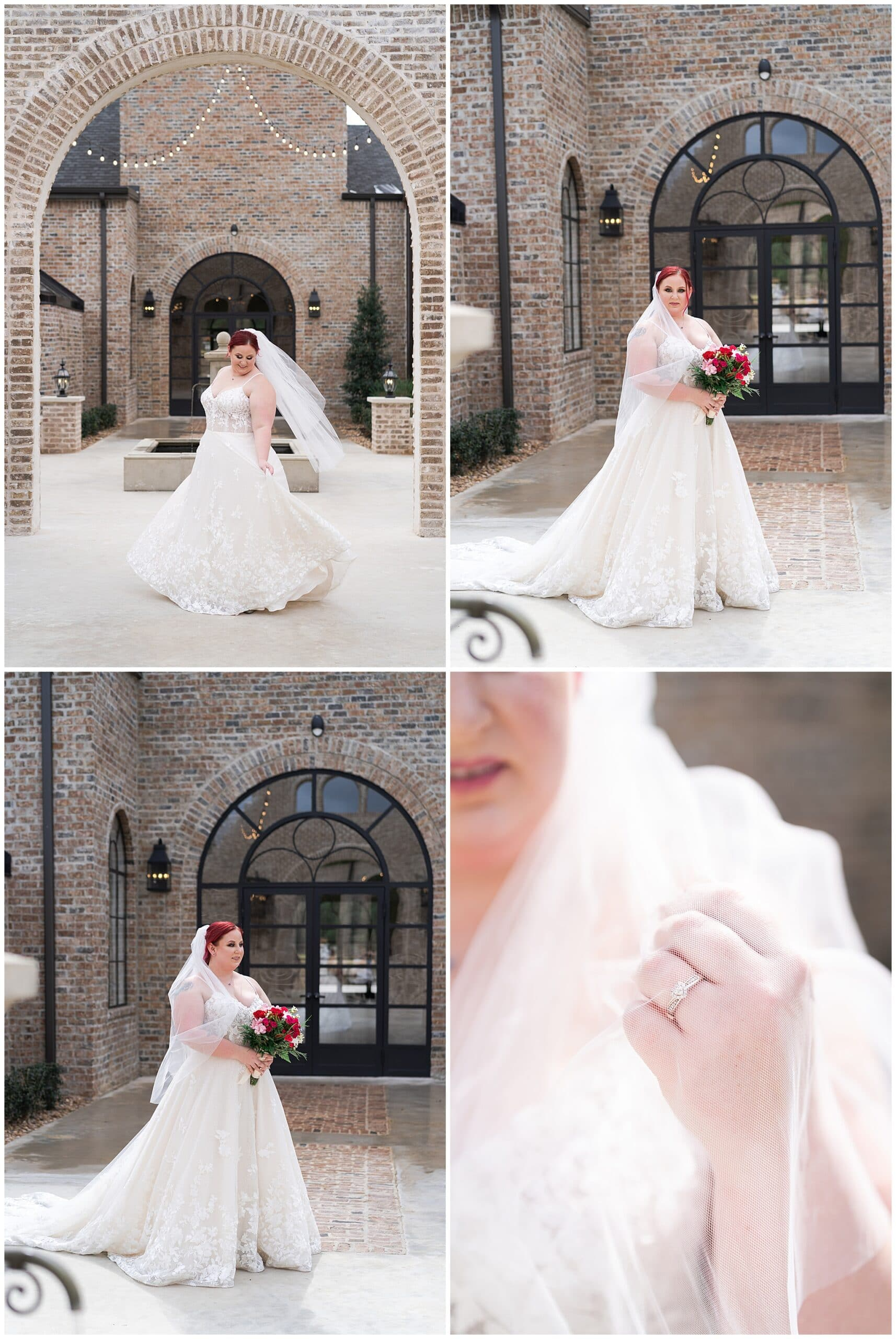 bride shows off her engagement ring during her Houston bridal session at Iron Manor captured by Swish and Click Photography
