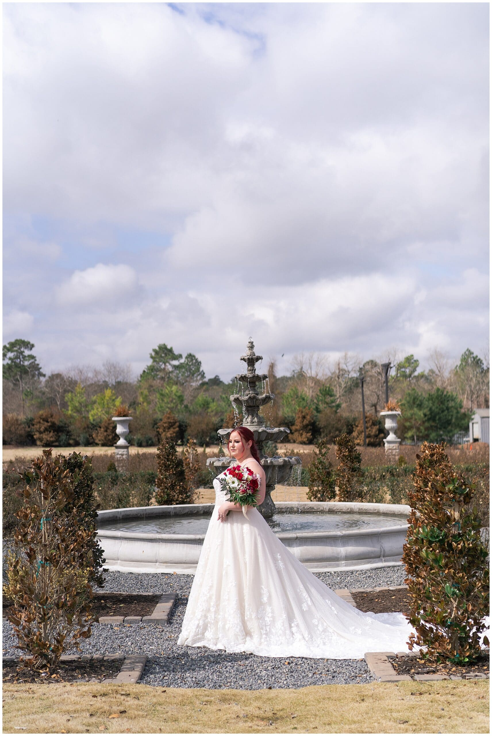 Iron Manor bridal session where the bride poses in the gardens captured by Swish and Click Photography in Houston Texas