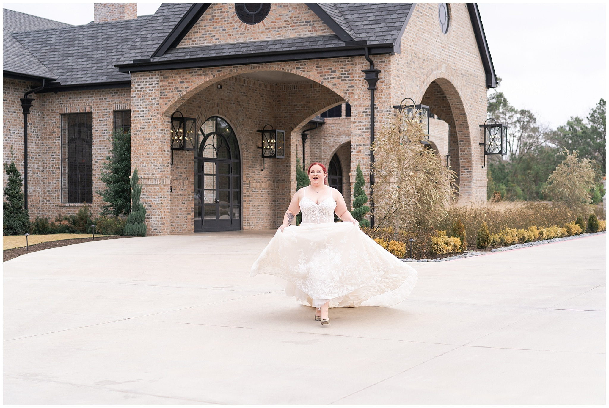 bride runs during her Houston bridal session at Iron Manor captured by Swish and Click Photography