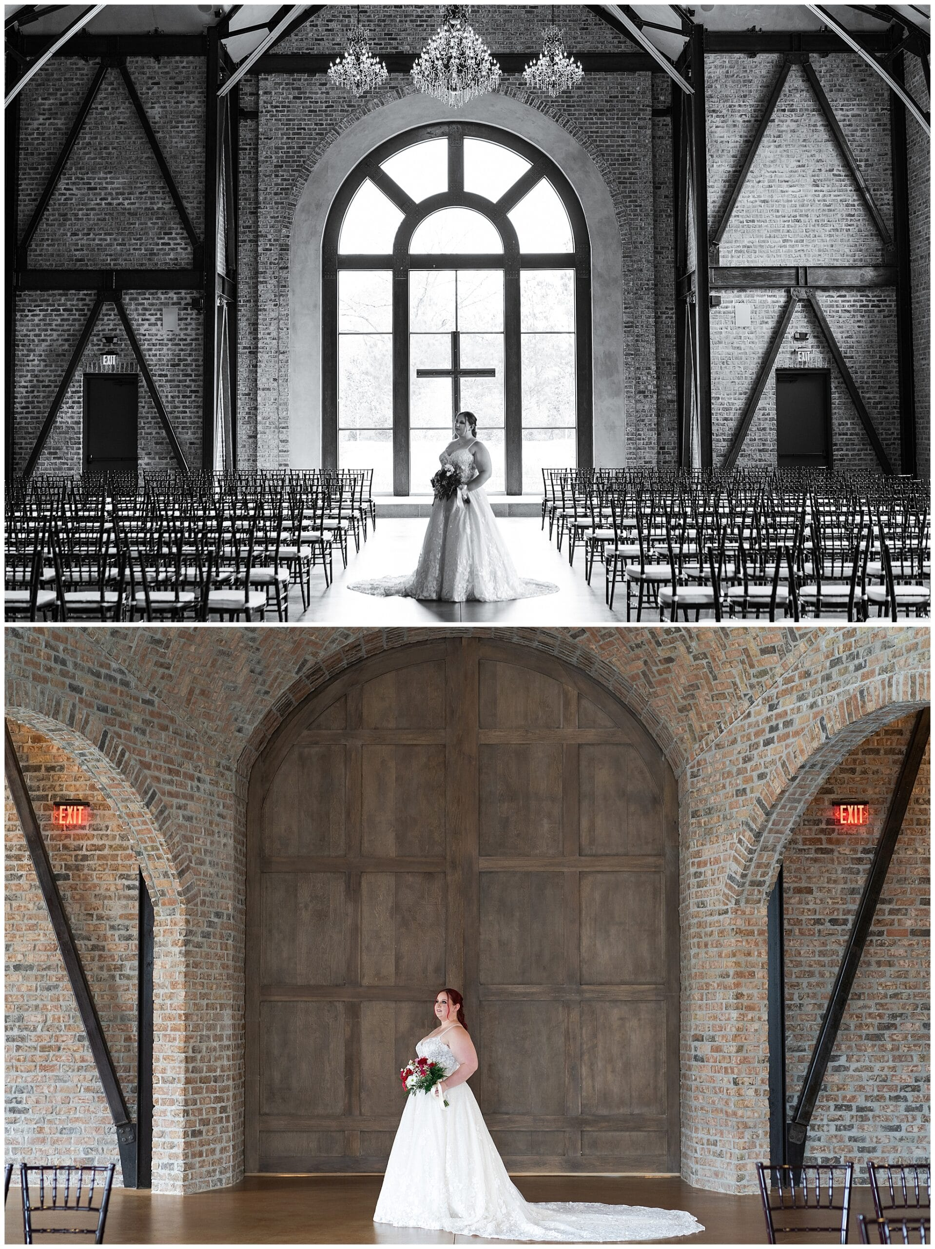 bride smiles during her Houston bridal session at Iron Manor captured by Swish and Click Photography