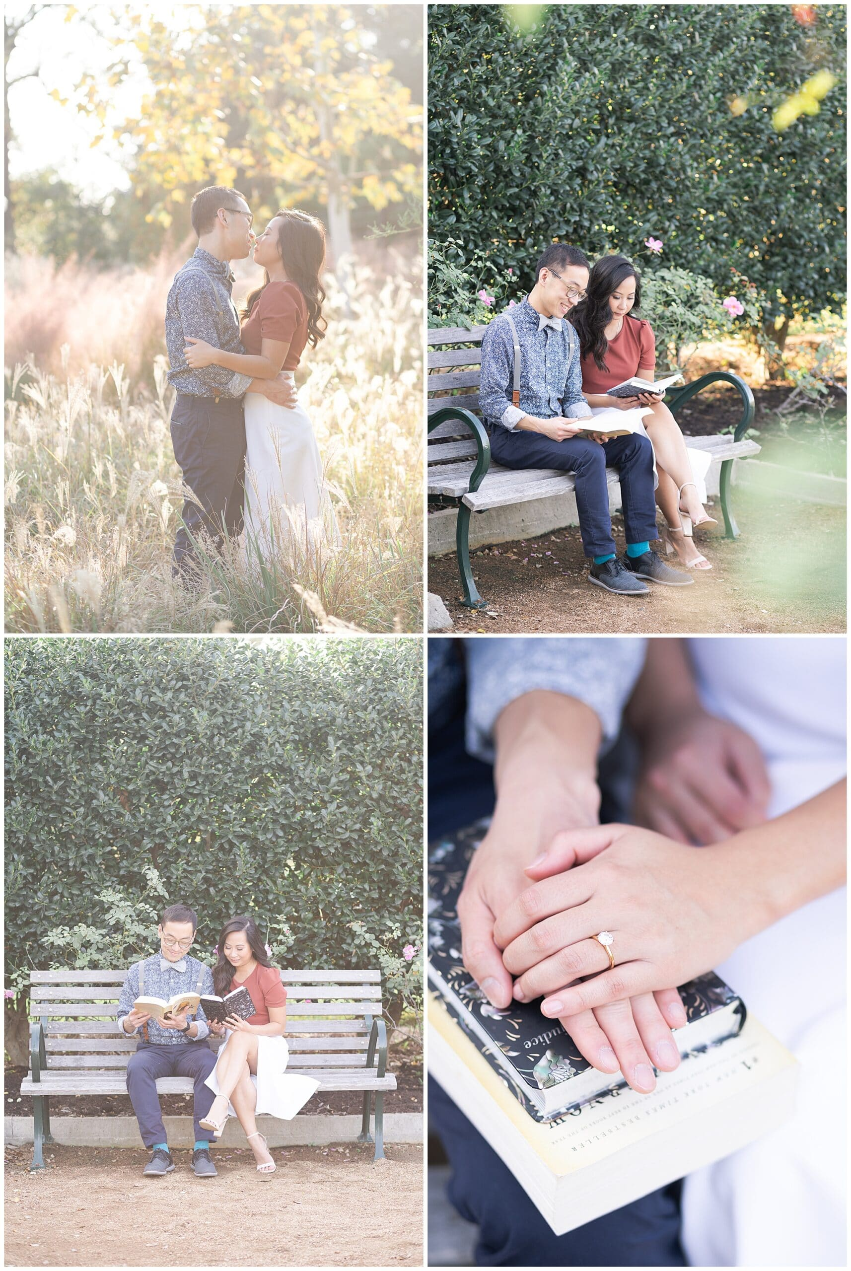 engaged couple reads a book together during Houston engagement session at McGovern Centennial Gardens by Swish and Click Photography