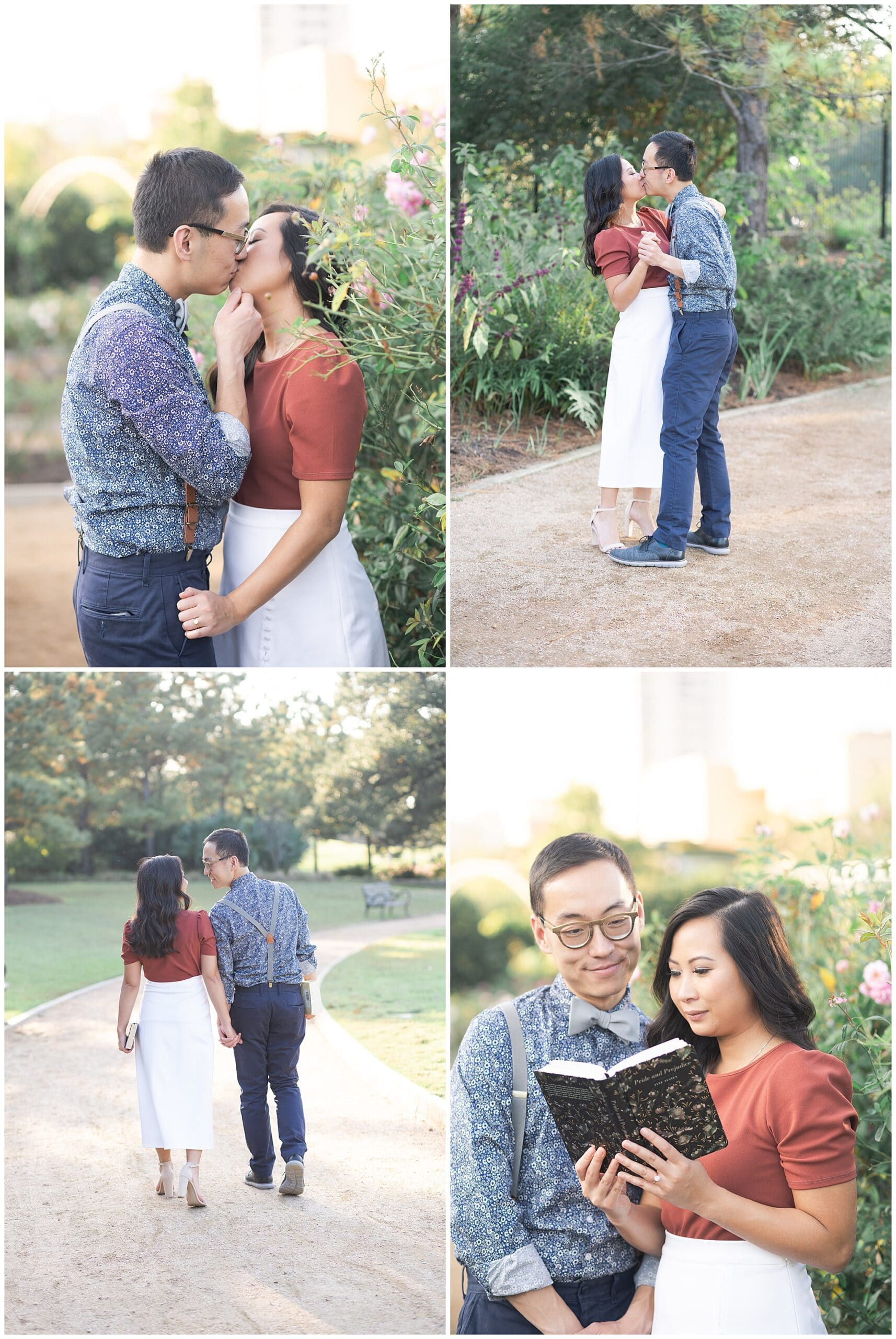 engaged couple smiles during Houston engagement session at McGovern Centennial Gardens by Swish and Click Photography