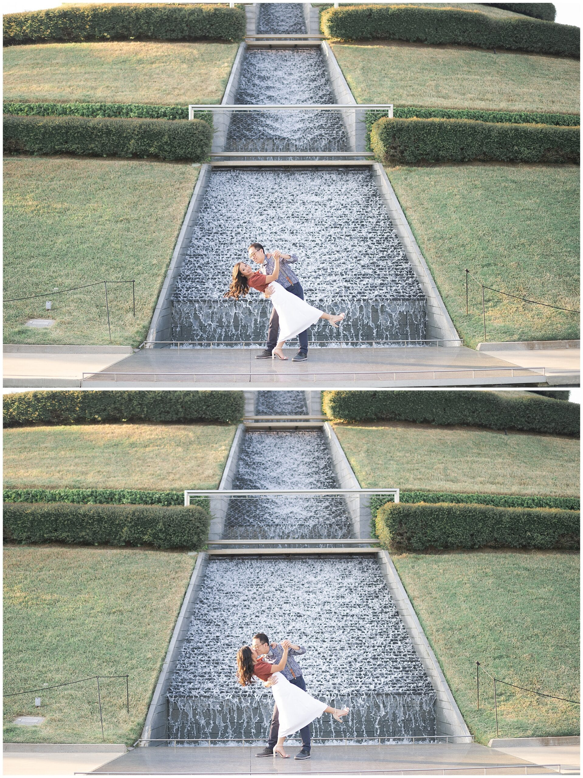 gorgeous engagement session with a kissing couple captured by Swish and Click Photography