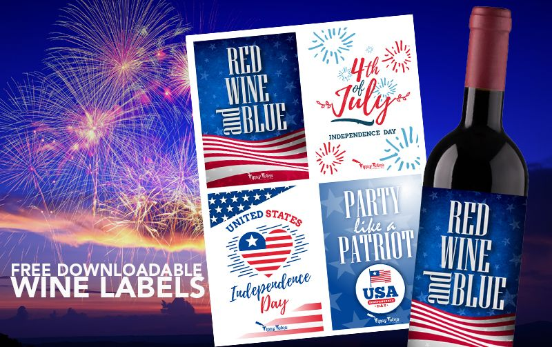 Downloadable 4th of July wine labels