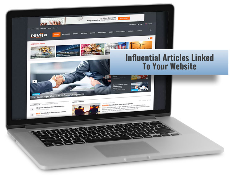 Back link services - Influential articles linked to your website