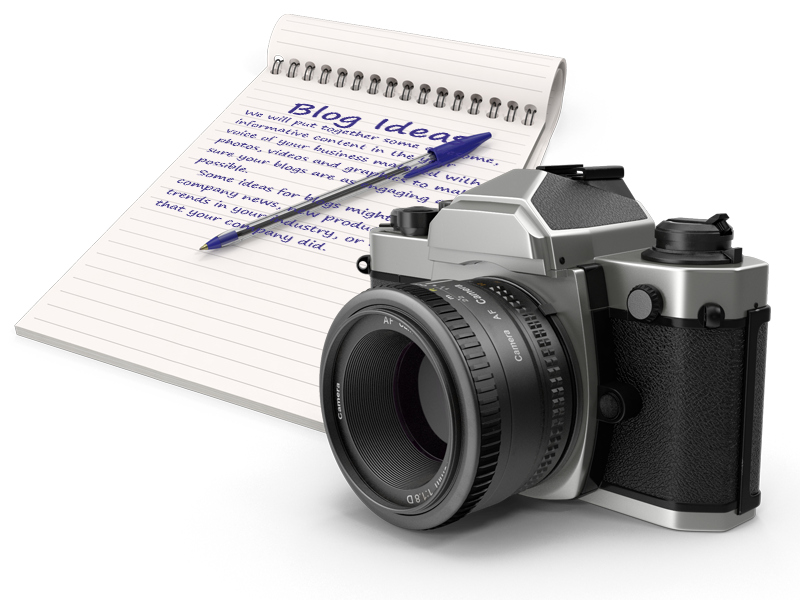Blog ideas on a notepad with a camera