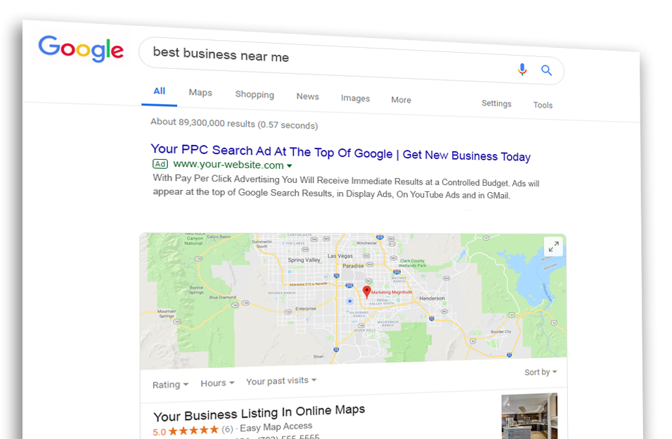 Google PPC Search Ad Example