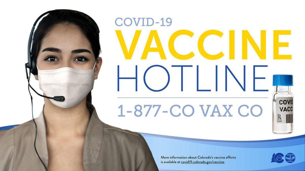 Colorado launches new COVID-19 vaccine hotline Use nueva línea contra el covid-19