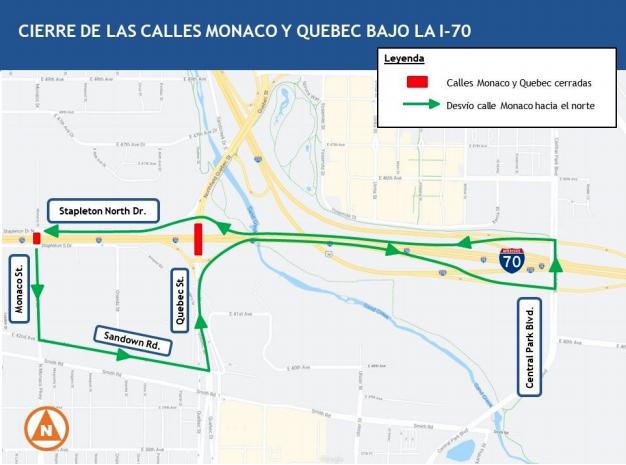 Cierra la calle Quebec debajo de la I-70