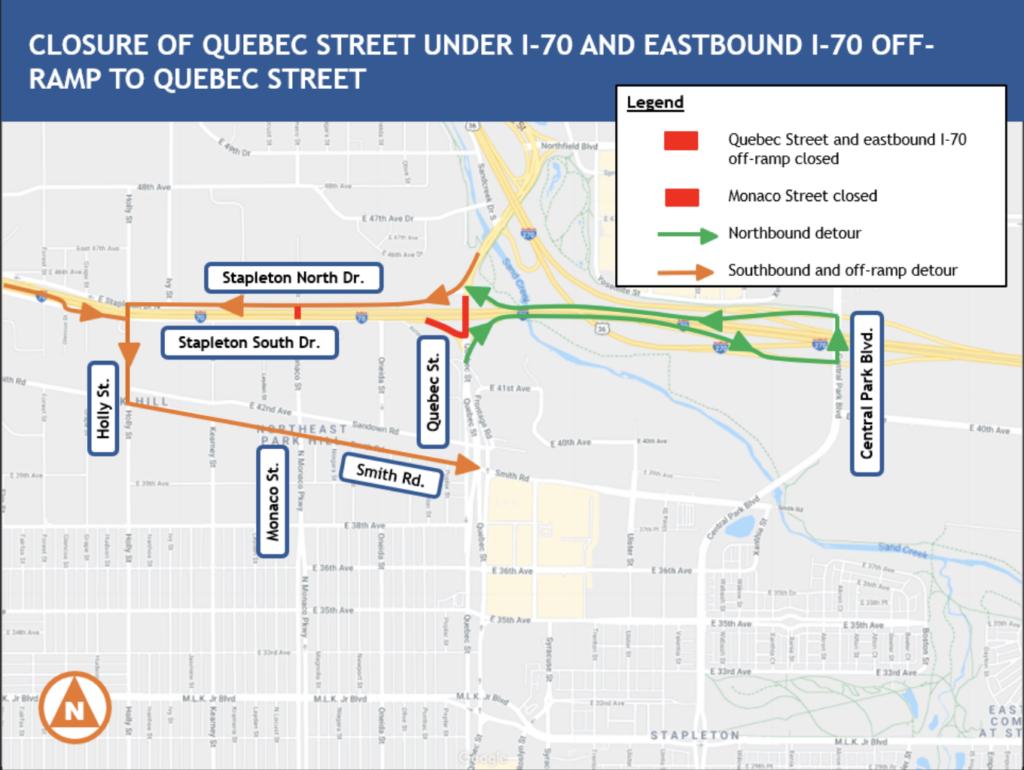 Cierra la Quebec Street debajo de la I-70