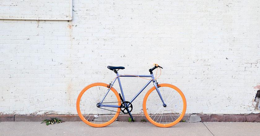 Very cute orange bicycle
