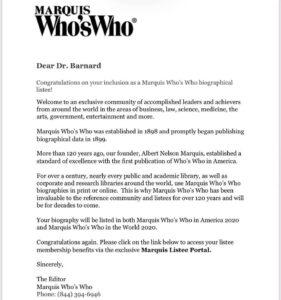 Dr. Alan Barnard's invitation into Marquis Who's Who