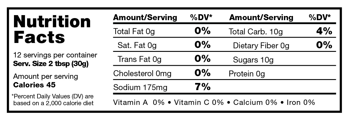 Briggs True Spicy Bourbon Bacon BBQ Sauce nutritional facts