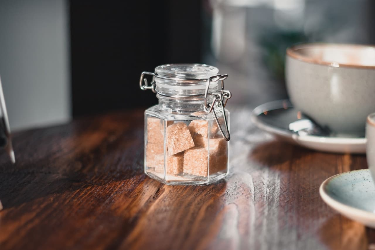 brown sugar in a glass container