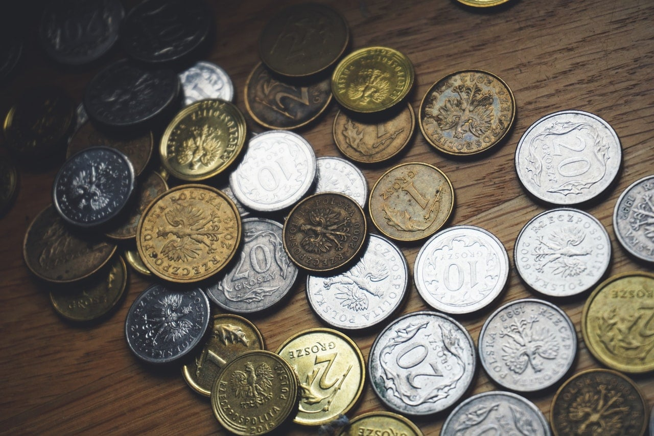 close up of coins from around the world