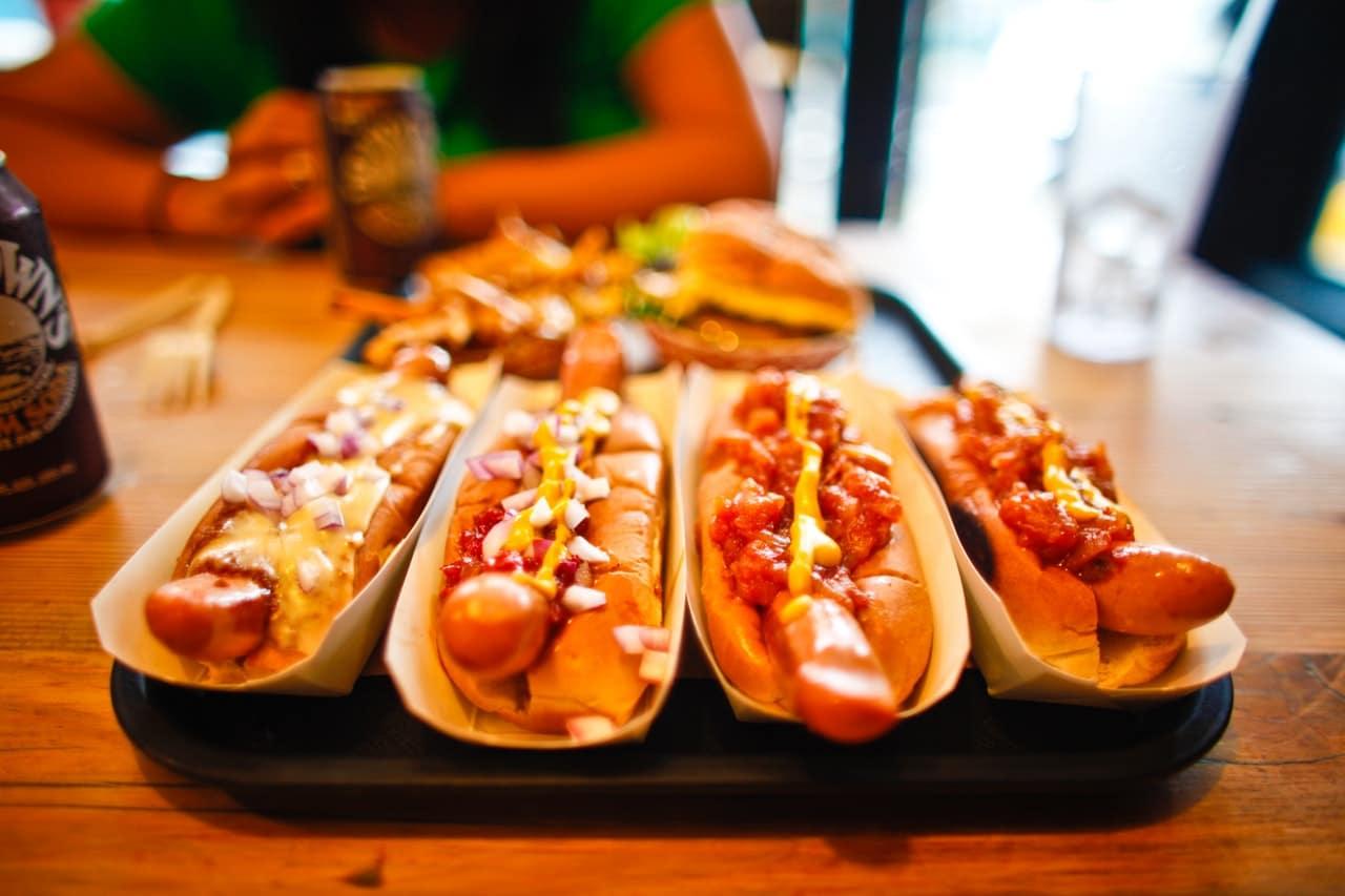 hotdogs with sauce
