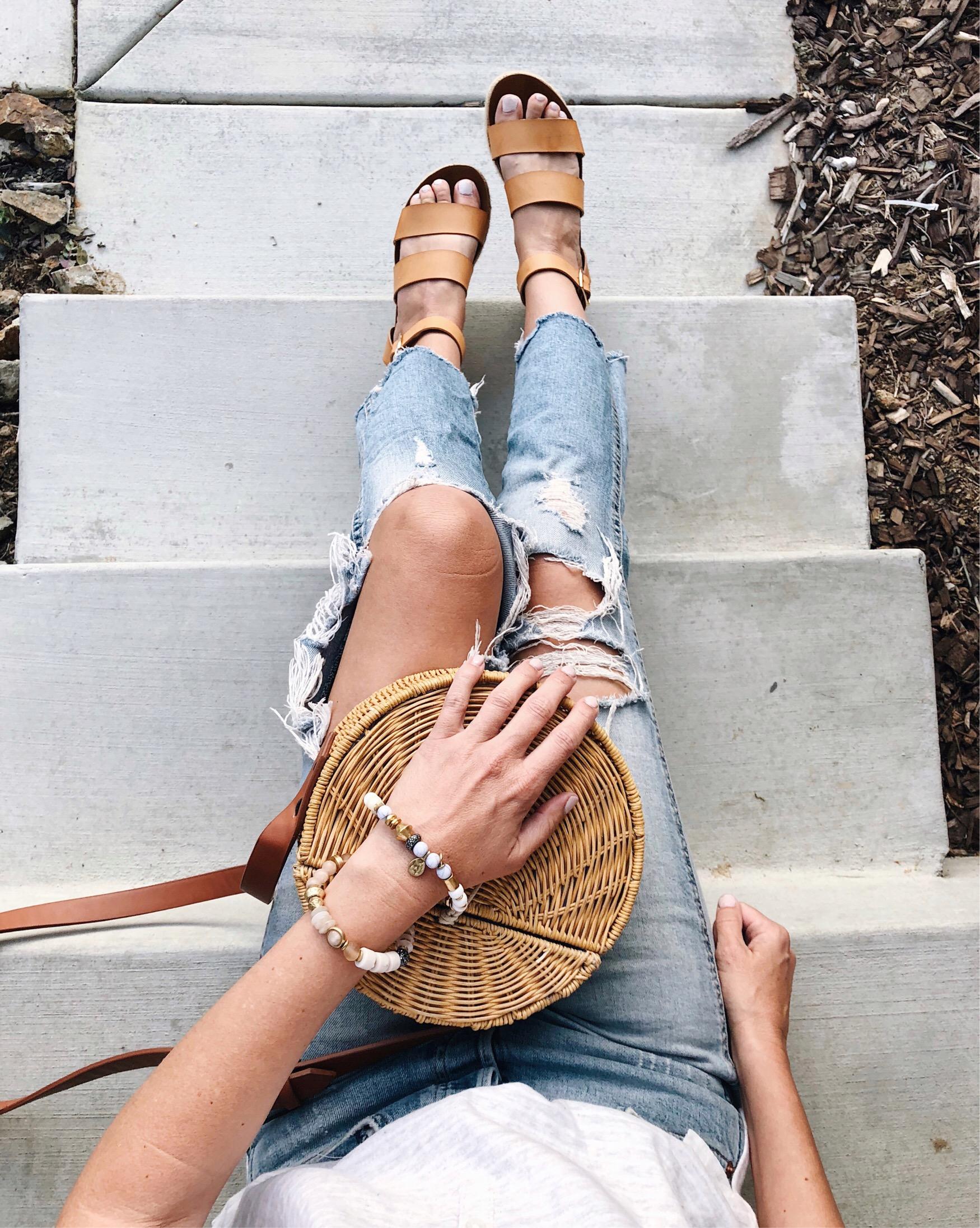 THE MUST HAVE SHOE TREND- PLATFORMS- Jaclyn De Leon Style - distressed denim + straw handbag + platform sandals + spring shoe trend + espadrilles + summer sandals + what to wear this summer + shoe crush + DSW