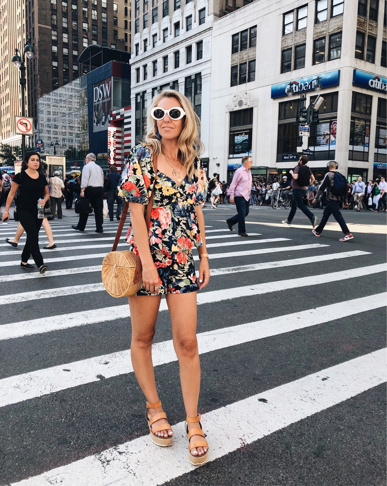 ADVENTURES IN NEW YORK- Jaclyn De Leon Style + Zara floral matching set + NY Street style + platform sandals + straw crossbody handbag + retro style sunglasses + ruffle shorts + statement sleeve + what to wear this summer + casual spring style