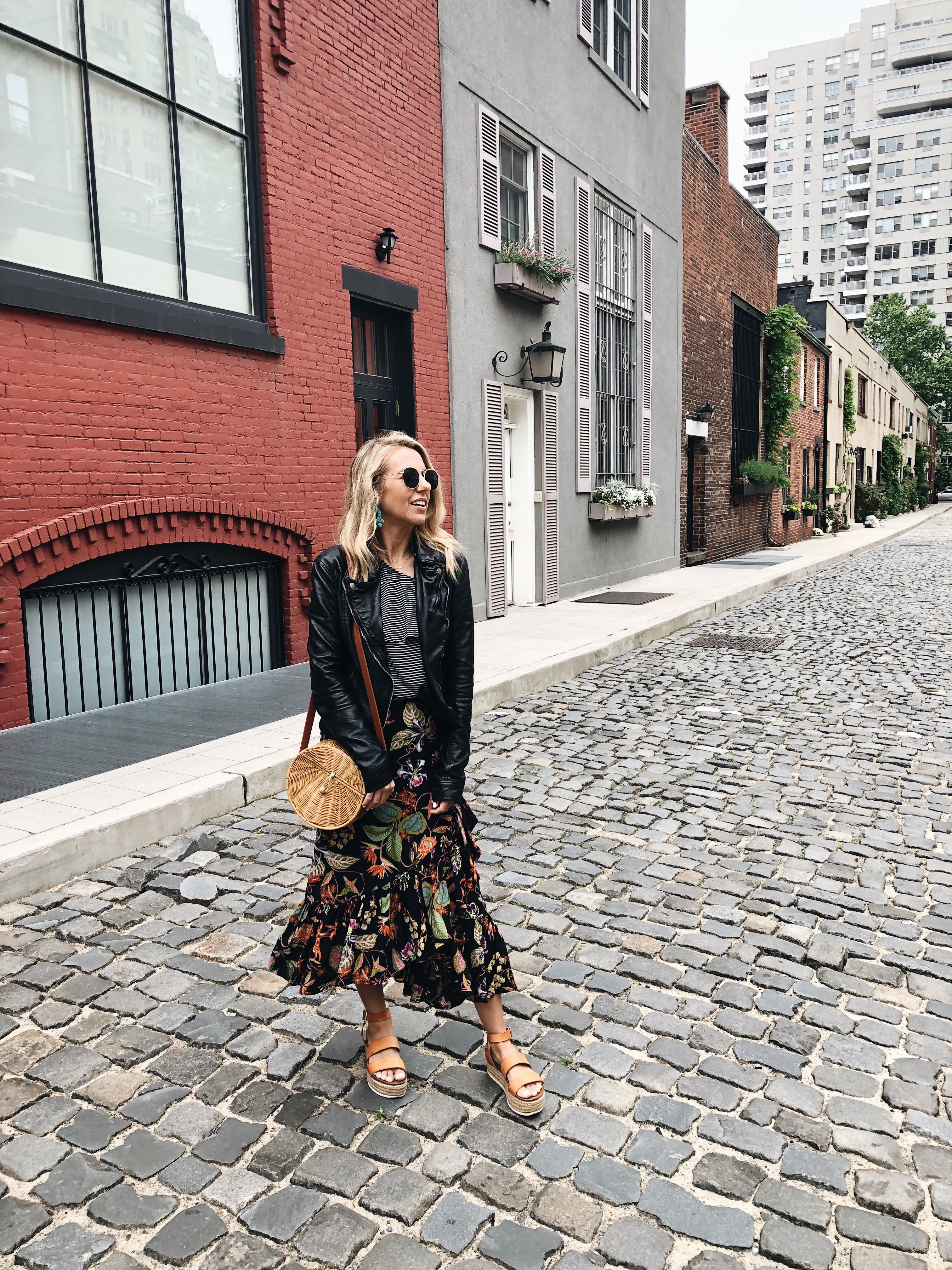 ADVENTURES IN NEW YORK- Jaclyn De Leon Style + ruffle floral midi skirt + striped top + faux leather jacket + straw crossbody handbag +platform espadrille sandals + casual street style + what to wear this spring + h&m style