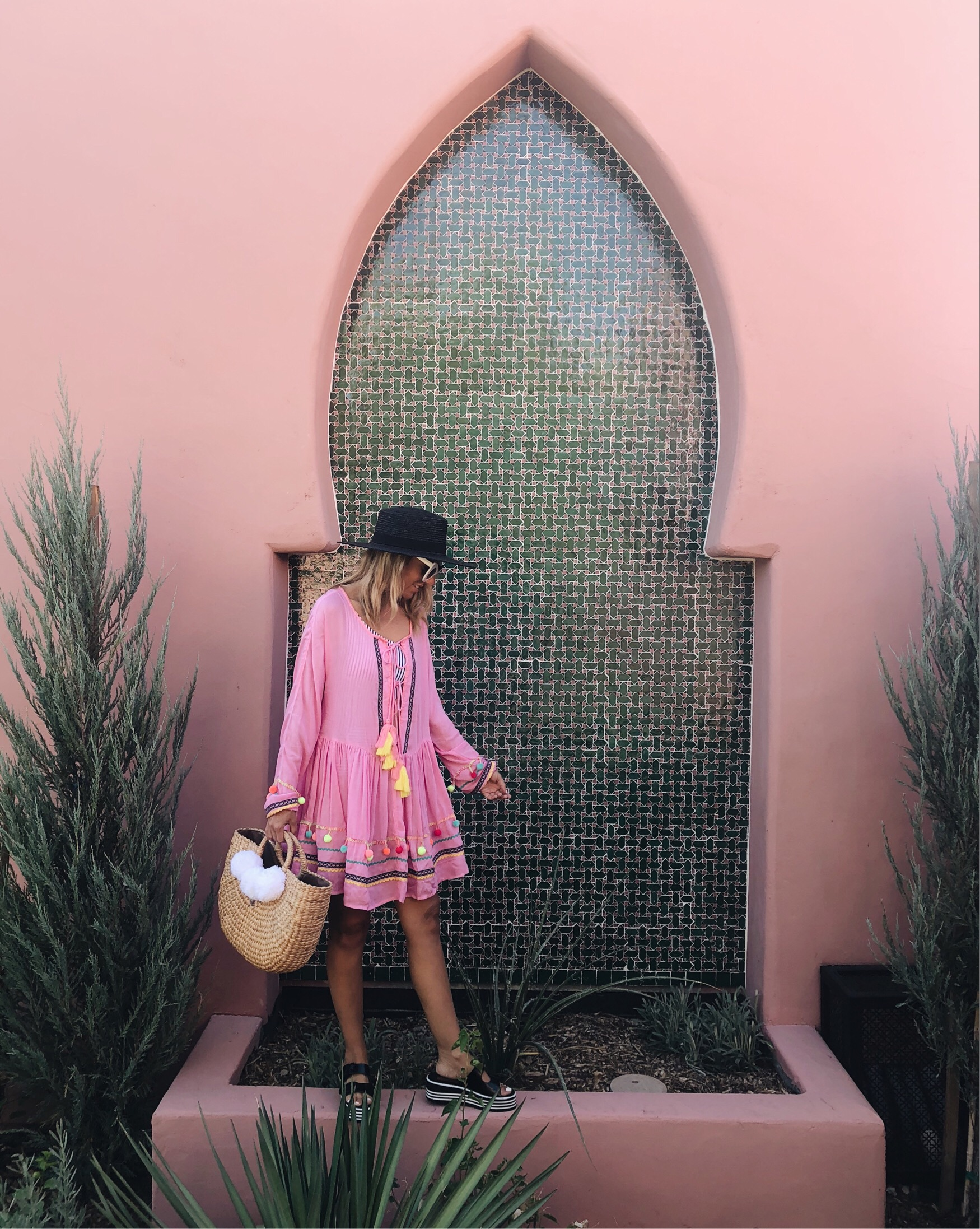 ANNIVERSARY WEEKEND GETAWAY AT THE SANDS HOTEL- Jaclyn De Leon Style + PALM SPRINGS HOTEL + BOHEMIAN + MOROCCAN + PINK POM POM SWIMSUIT COVER UP + STRAW BEACH TOTE + BLACK WIDE BRIM HAT + PLATFORM SANDALS + ASOS OUTFIT + SUMMER STYLE + VACATION + TRAVEL