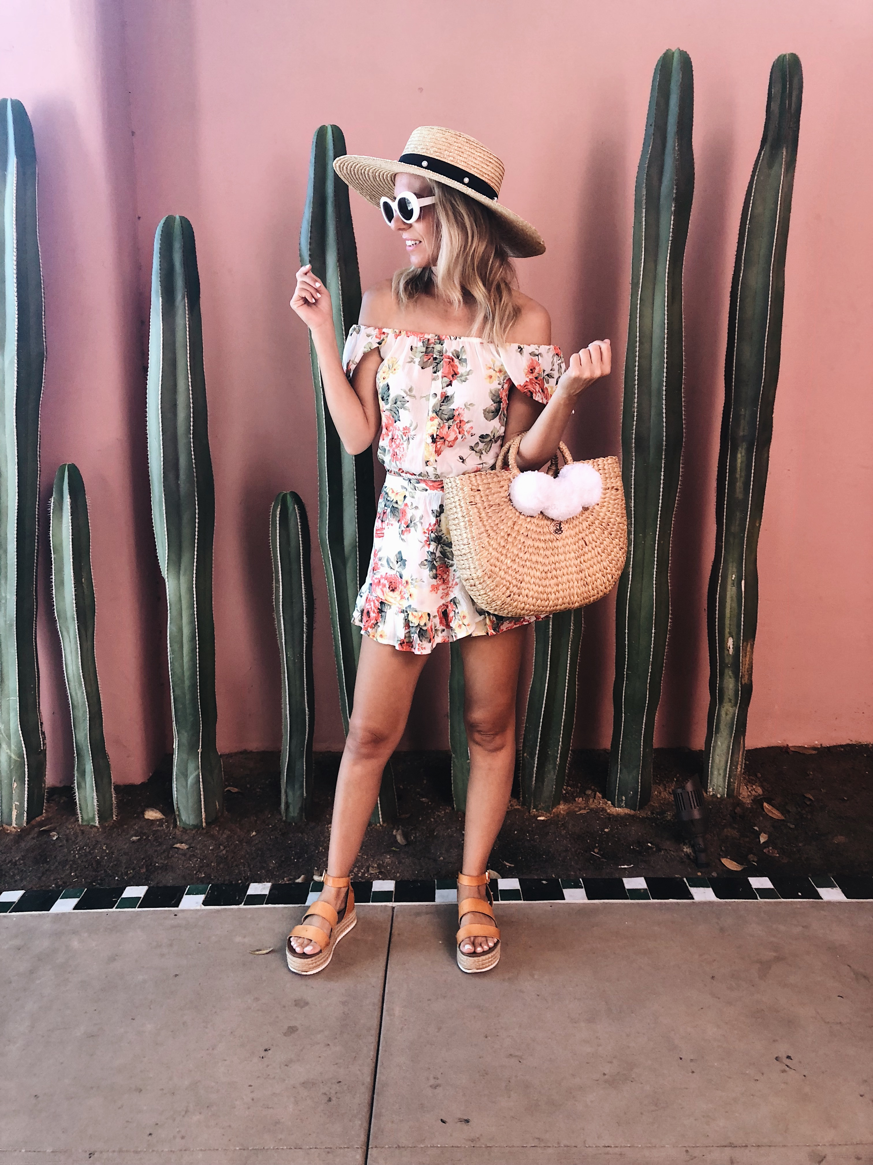 ANNIVERSARY WEEKEND GETAWAY AT THE SANDS HOTEL- Jaclyn De Leon Style + PALM SPRINGS HOTEL + BOHEMIAN + PINK WALL WITH CACTUS + RETRO SUNGLASSES + POM POM STRAW BEACH TOTE + WIDE BRIM STRAW HAT + PLATFORM SANDALS + ABERCROMBIE FLORAL MATCHING SET + SUMMER STYLE + VACATION + TRAVEL