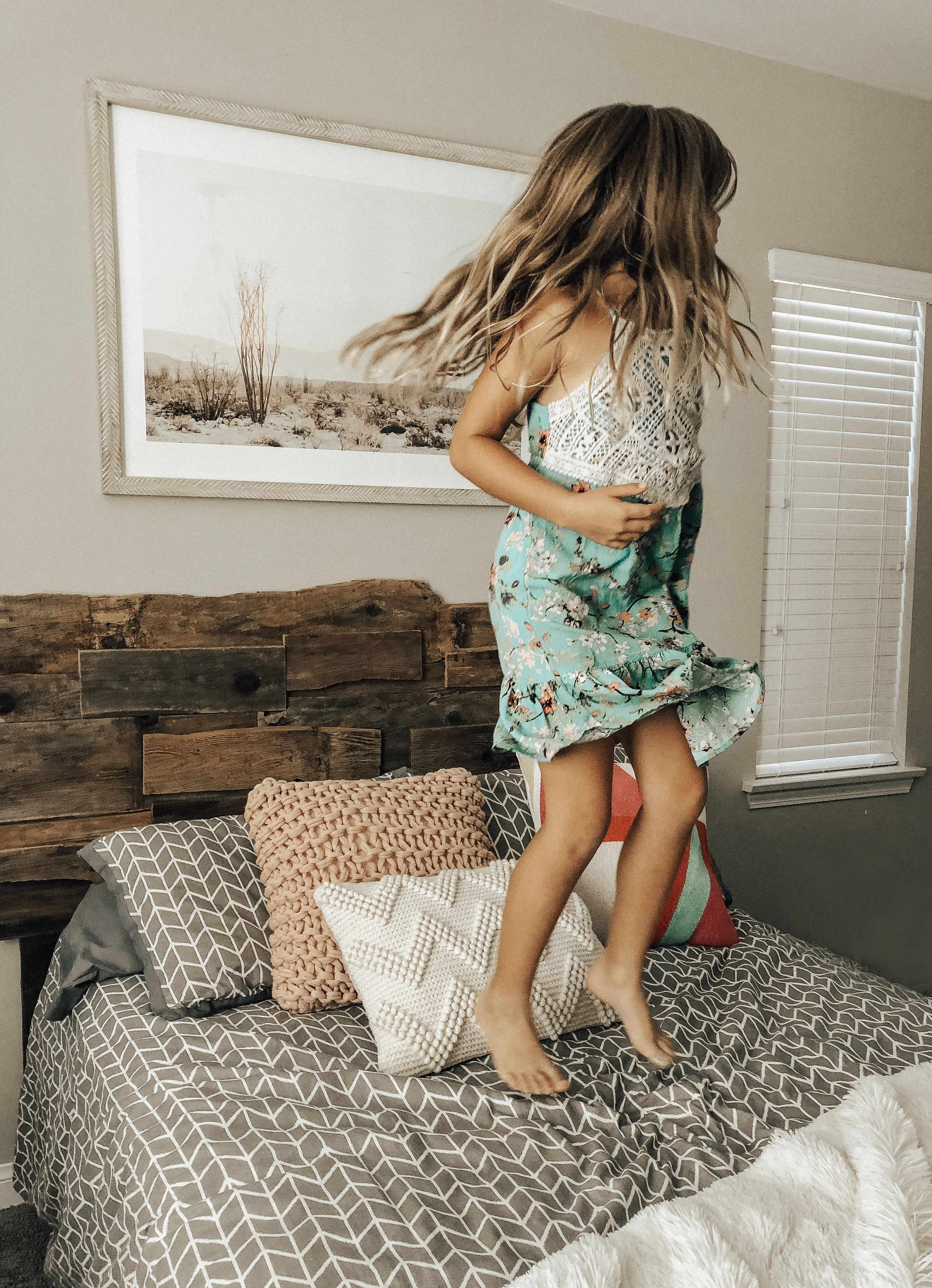 STYLING MY HOME WITH MINTED ART- Jaclyn De Leon Style + Minted art + stylng the home + home decor + wall art + home inspiration + guide to updating your art + art collector + retro style art + interior design + having fun with kids + decorating with kids + jumping on the bed