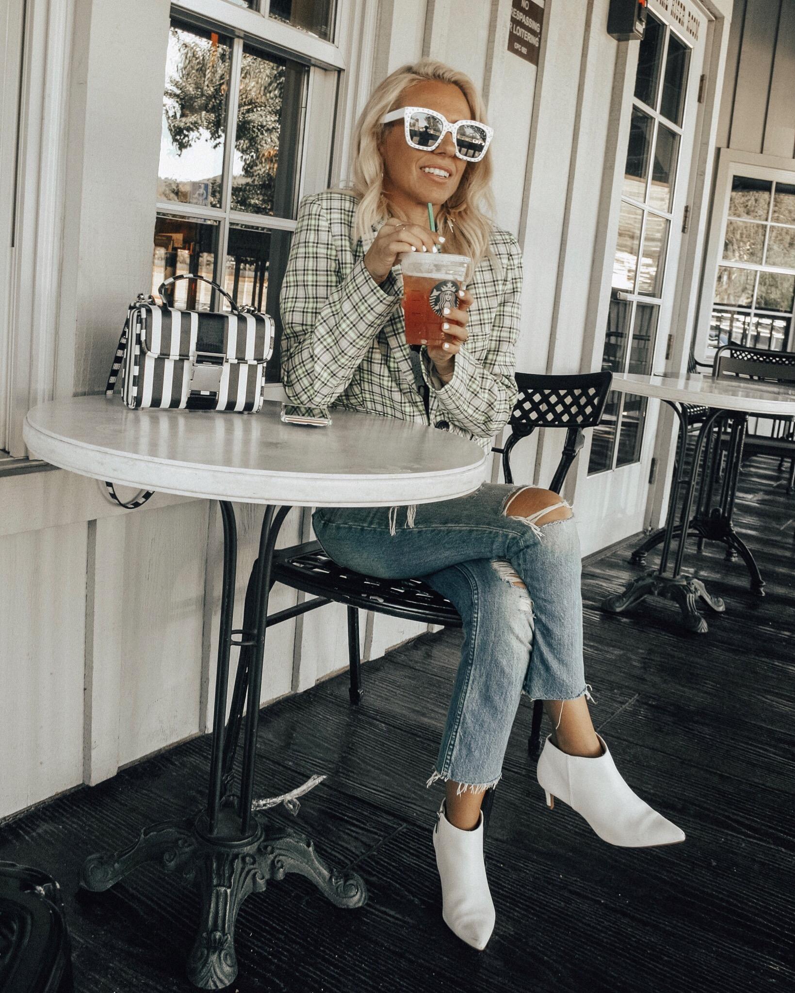 MAD FOR PLAID- Jaclyn De Leon Style + fall fashion + plaid blazer + street style + style inspo + band tee + white boots + striped handbag + 90's fashion + retro style + starbucks + mom style