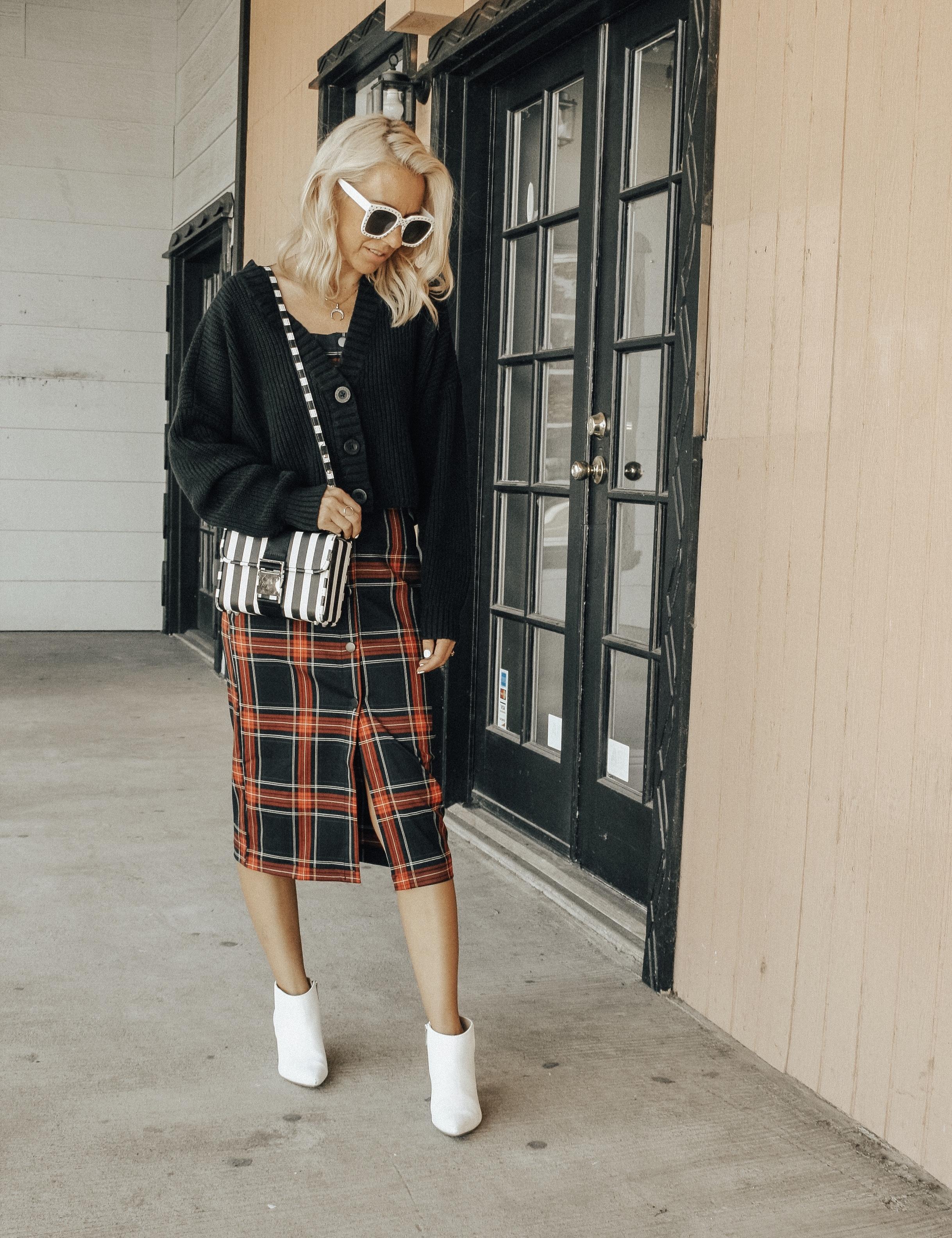 MAD FOR PLAID- Jaclyn De Leon Style + fall fashion + plaid dress + street style + style inspo + cozy sweater cardigan + white boots + striped handbag + 90's fashion + retro style + mom style + asos