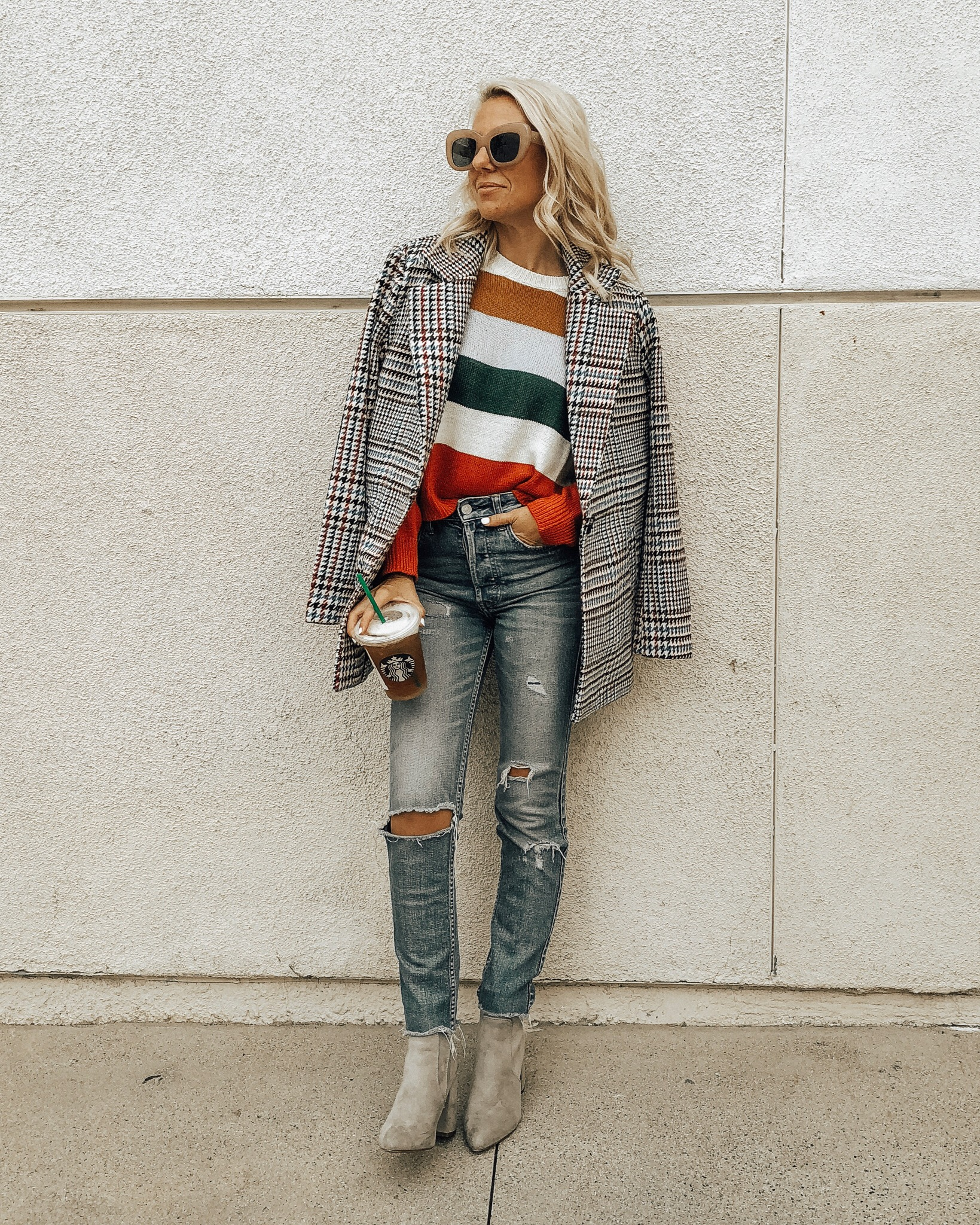 MAD FOR PLAID- Jaclyn De Leon Style + fall fashion + plaid coat + street style + style inspo + cozy striped sweater + block heel boots + winter casual style + 90's fashion + retro style + mom style + forever 21 + affordable fashion