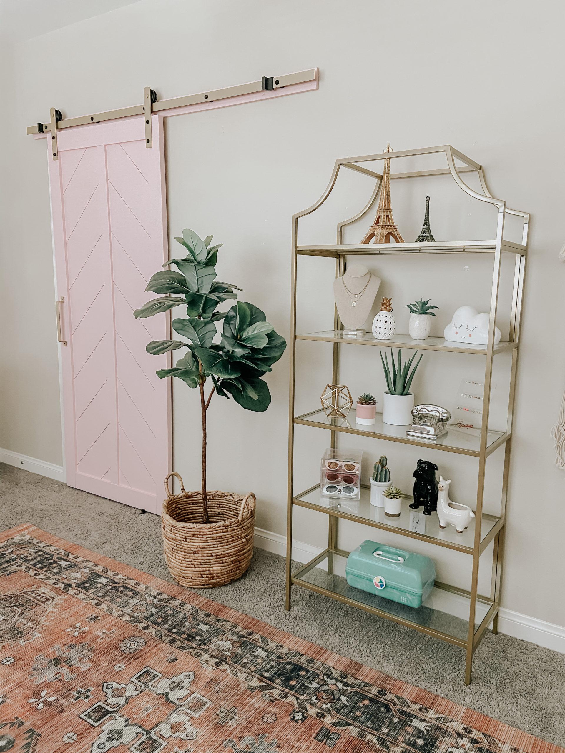 GIRLS BEDROOM MAKEOVER- Jaclyn De Leon Style + sharing my daughter's boho chic bedroom update including wall paper + barn door