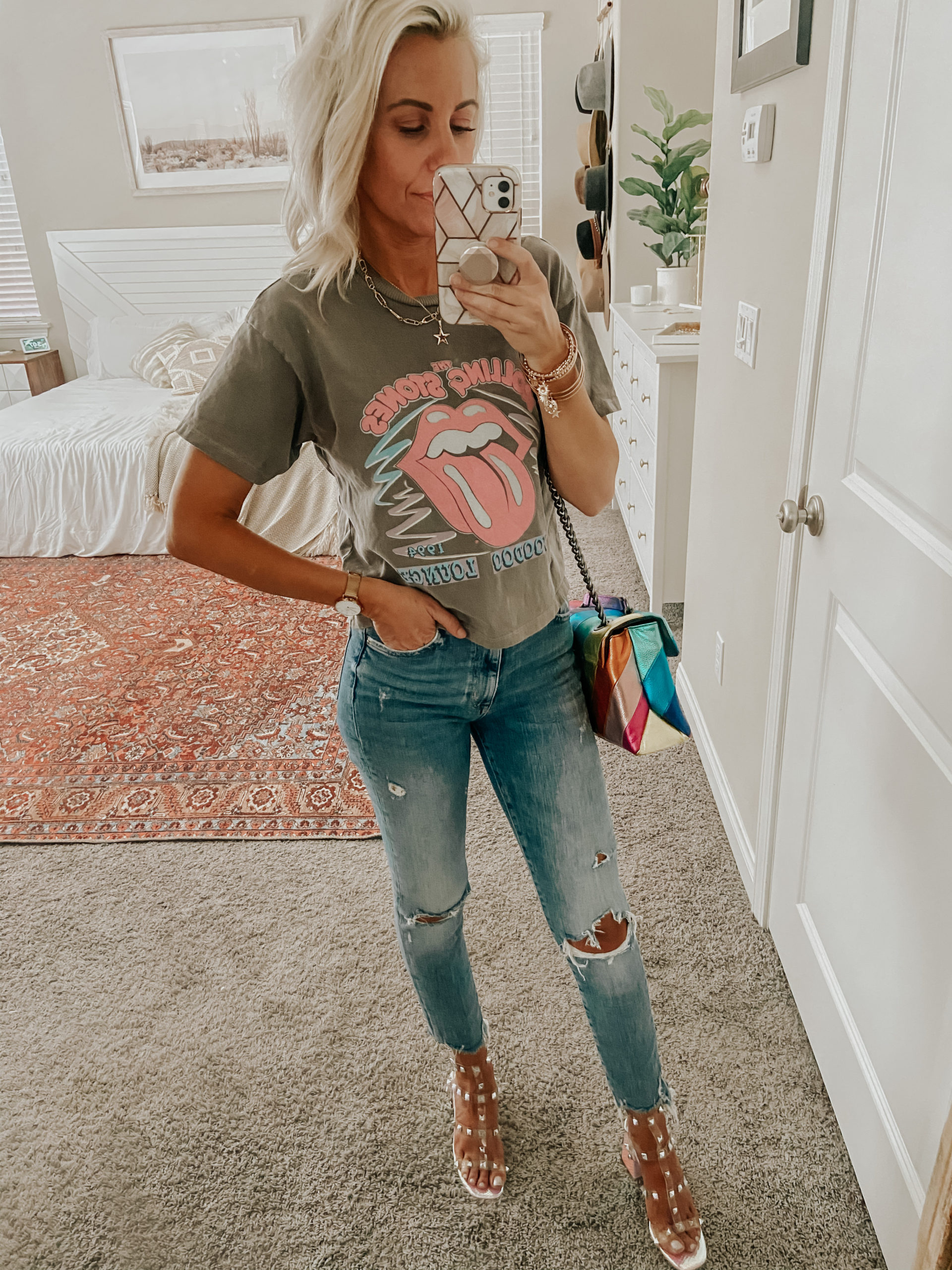 STYLING IRIDESCENT STUDDED HEELS- Jaclyn De Leon Style + these block heels are so on trend and I'm sharing two easy ways to style them from casual chic to all dressed up