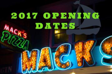 2017 Opening Dates