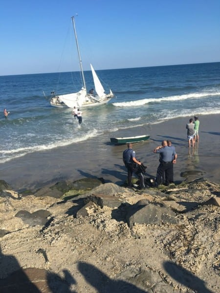 Sailboat Crashes On North Wildwood Beach