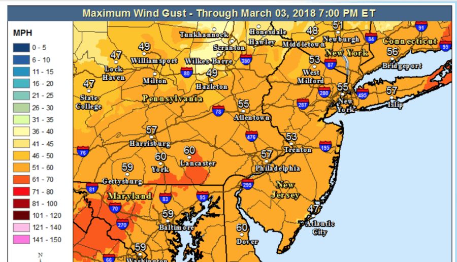 Generally 1 to 2 inches of rain (lesser amounts in Delmarva), with locally higher amounts possible north of I-78.  Urban/poor-drainage flooding, followed by possible stream and river flooding into the weekend.  Northwest winds increase rapidly Friday morning to 25 to 35 mph with gusts 50 to 60 mph through Friday evening, before diminishing Friday night and Saturday. Downed trees and power lines are expected, especially given the saturated ground.  Rain changes over to heavy snow in the Poconos and northwest NJ Friday morning with hazardous conditions. Changeover to snow will gradually spread southeast into the Lehigh Valley and northern New Jersey during Friday before ending later Friday night. Strong winds will create whiteout conditions at times in falling snow.  Minor to locally moderate coastal flooding on the New Jersey coast during high tide Friday, with moderate (spotty major flooding possible Saturday morning) on the NJ/DE Atlantic coast and the coast of Delaware Bay Saturday. Beach erosion expected Friday through Saturday.  Dangerous winds and seas on the NJ/DE Coastal Waters including Delaware Bay