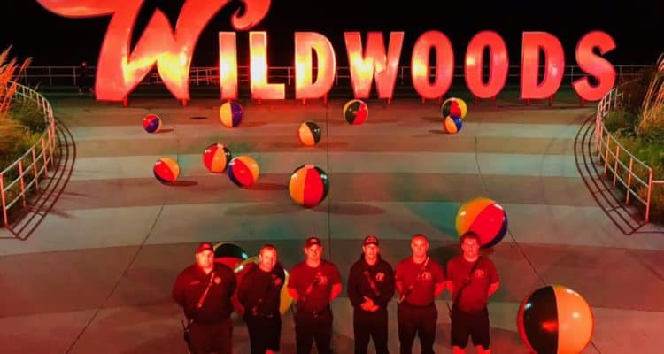 Wildwood Sign Lights Up Red For Firefighters