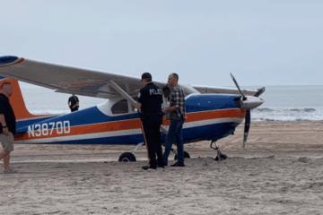 Plane Lands On Ocean City Beach
