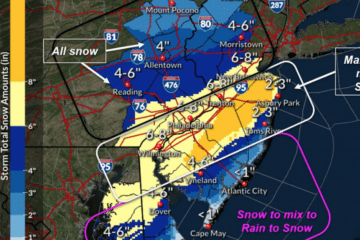 NJ + PA Snow Totals - Nor'Easter Update