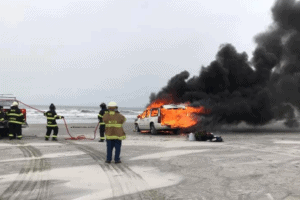 Car Catches Fire On Wildwood Crest Beach