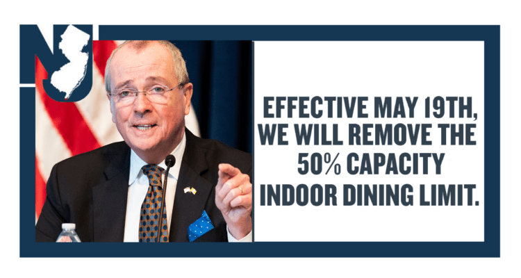 New Jersey Removes 50% Capacity On Indoor Dining + More