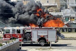 Boat Fire In Wildwood's Otten Harbor